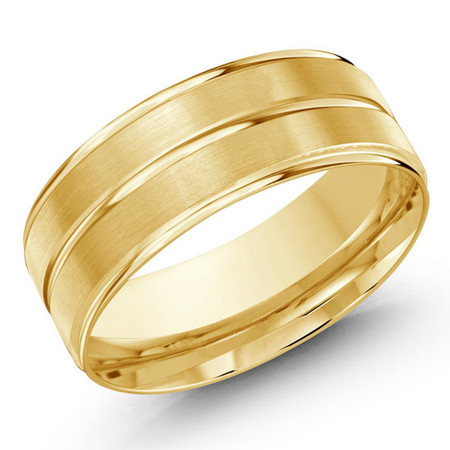 Mens 8 MM yellow gold satin finish band with high polish yellow gold center strip - #JM-1148-8YG