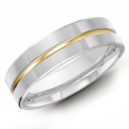 Mens 6 MM two-tone white and yellow gold satin finish band with a high polish center strip - #JM-117-6G