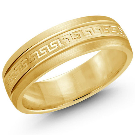 Mens 6 MM all yellow gold band with greek key design satin center - #JM-262-6YG