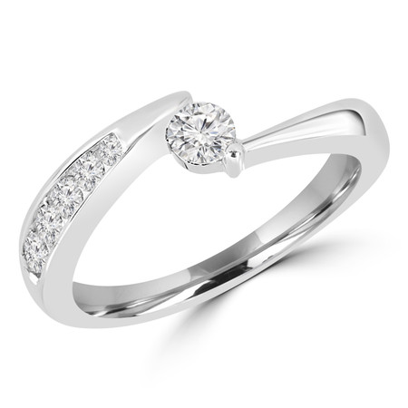 Round Cut Diamond Multi-Stone Two-Prong Engagement Ring in White Gold - #UR3221-W