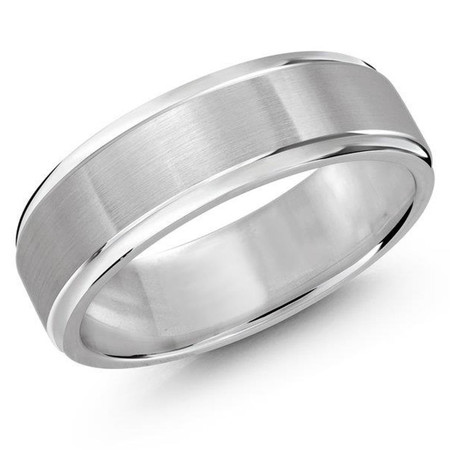 Mens 7 MM all white gold double grooved satin finish band - #JM-411-7WG