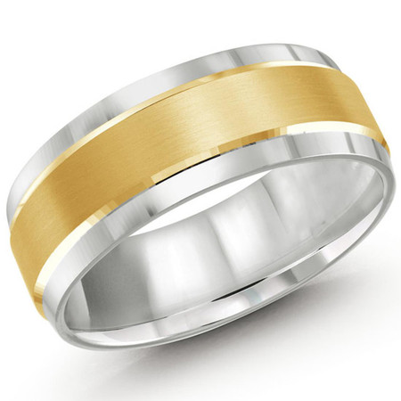 Mens 8 MM two-tone white and yellow gold band with satin center and high polish edging - #JM-418-8RG