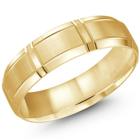 Mens 6 MM all yellow gold satin finish band with wrap around vertical strips  - #JM-699-6YG