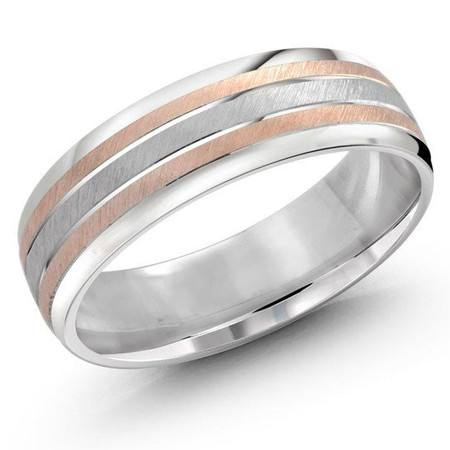 Mens 7 MM two-tone white and rose gold scratch finish band - #JM-722-7PG