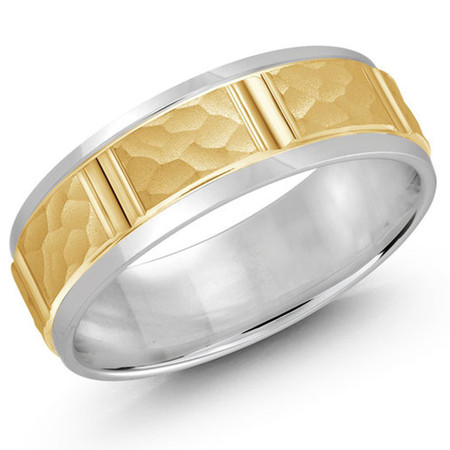 Mens 7 MM two-tone white and yellow gold gold satin finish hammered center band with vertical cut detail- #JM-817-7G