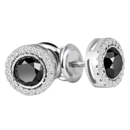 Round Cut Black Diamond Multi-Stone Bezel-Set Halo Stud Earrings with Round White Diamond Accents & Screwbacks in White Gold - #HE4900-W-BLK