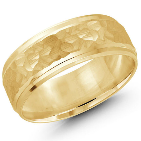 Mens 8 MM all yellow gold band with satin hammered center  - #JM-991-8YG