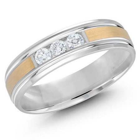 Mens 6 MM two-tone white and yellow gold satin center band, embelished with 3 X .07 CT diamonds  - #JMD-520-6G