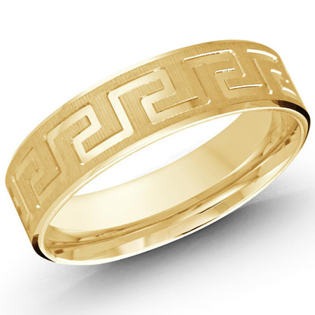 Mens 6 MM all yellow gold band with white rhodium center stripe  - #LCF-028