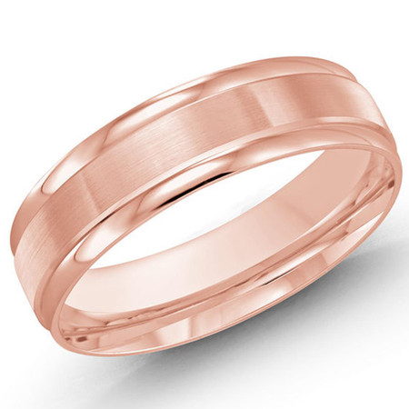 Mens 6 MM rose gold classic band with satin center and high polish edges  - #LCF-031P