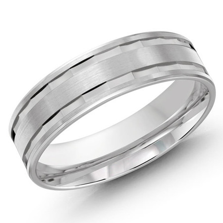 Mens 6 MM all white gold band with faceted center - #LCF-625