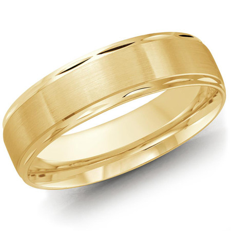 Mens 6 MM all yellow gold band with compact faceted edging - #LCF-674Y