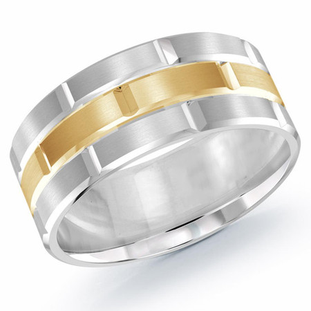 Mens trendy 9 MM white and yellow gold brick motif satin finish band with high polished grooved accents- #FJM-002-9G