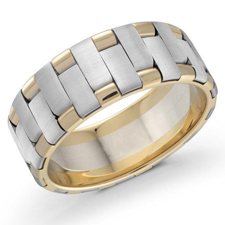Mens 8 MM two-tone yellow and white gold intertwined band - #FJM-074