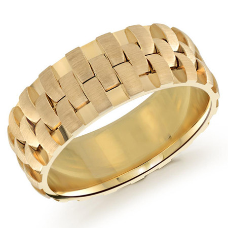 Mens 8 MM all yellow gold interweaved band  - #MRD-003Y