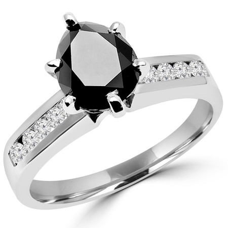 Pear Cut Black Diamond Multi-Stone 6-Prong High-Set Engagement Ring with Round White Diamond Channel-Set Accents in White Gold - #SM510-W-PE-BLK