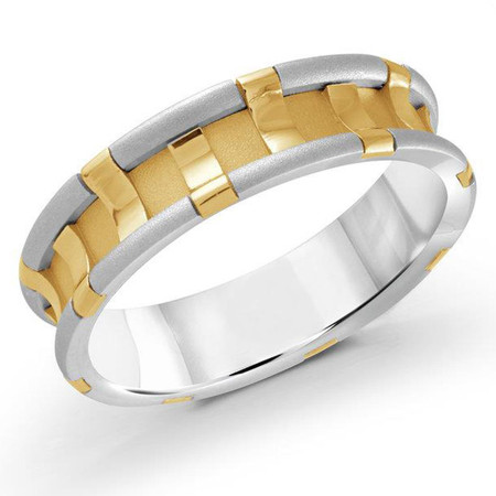 Mens 6 MM two-tone white and yellow gold clip motif band  - #MRD-034WYG