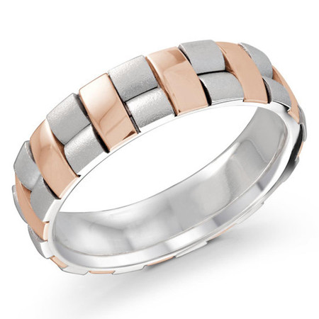 Mens 6 MM two-tone white and rose gold vertical and horizontal fusion motif band  - #MRD-038PG