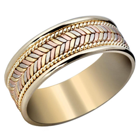 Mens 8 MM yellow gold band with tri-color white, yellow and rose center with yellow gold milgrain detailing  - #P-004A