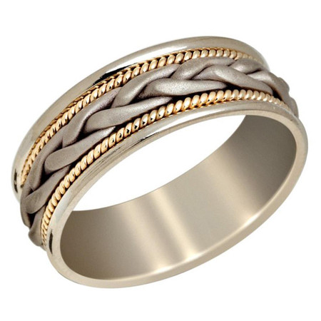 Mens 8 MM two-tone white and yellow gold band with braided center and milgrain detailing  - #P-017