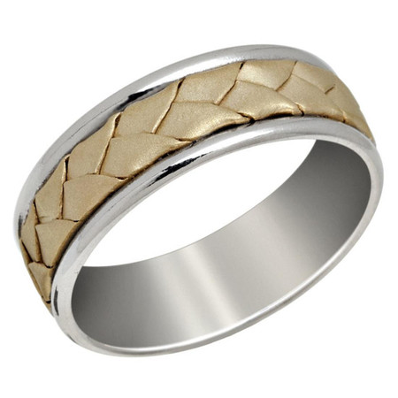 Mens 7 MM white gold band with yellow gold braided center - #P-019B