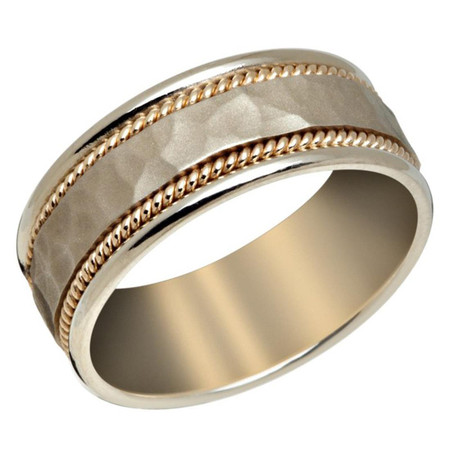 Mens 8 MM white gold band with satin hammered finish center and yellow gold milgrain detailing  - #P-038