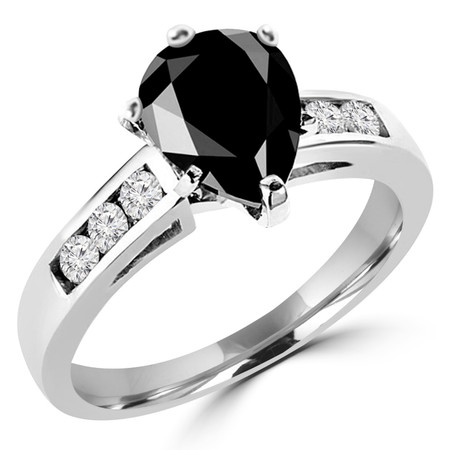 Pear Cut Black Diamond Multi-Stone 6-Prong Cathedral Style Engagement Ring with Round White Diamond Channel-Set Accents in White Gold - #SM512-W-PE-BLK