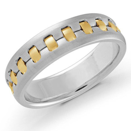 Mens 6 MM two-tone white and yellow gold intertwined satin finish band  - #MRD-024RG