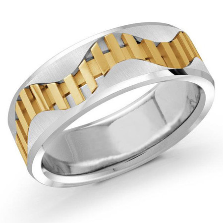 Mens 7.5 MM two-tone white and yellow gold vertical stripped center band  - #MRD-007G