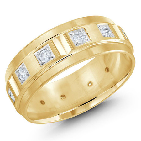 Mens 8 MM all yellow gold band with milgrain accents, embelished with 12 X .04 CT diamonds  - #JMD-826-8YG
