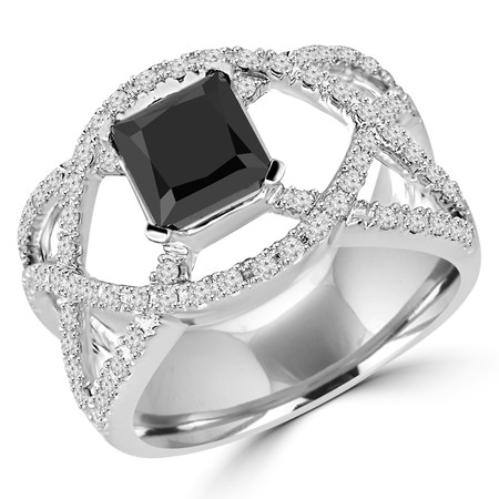 Princess Cut Black Diamond Multi-Stone 4-Prong Infinity Engagement Ring with Round White Diamond Accents in White Gold - #HR6537-W-BLK