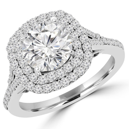 Round Cut Diamond Multi-Stone Double Halo 4-Prong Engagement Ring in White Gold - #ADRIANO-W