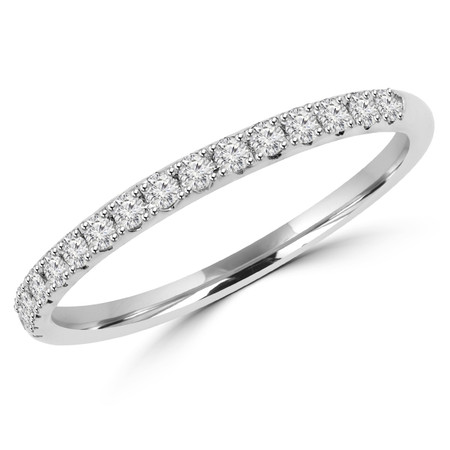 Round Cut Diamond Semi-Eternity Wedding Band Ring in White Gold - #DOUBLE-HALO-BAND-W