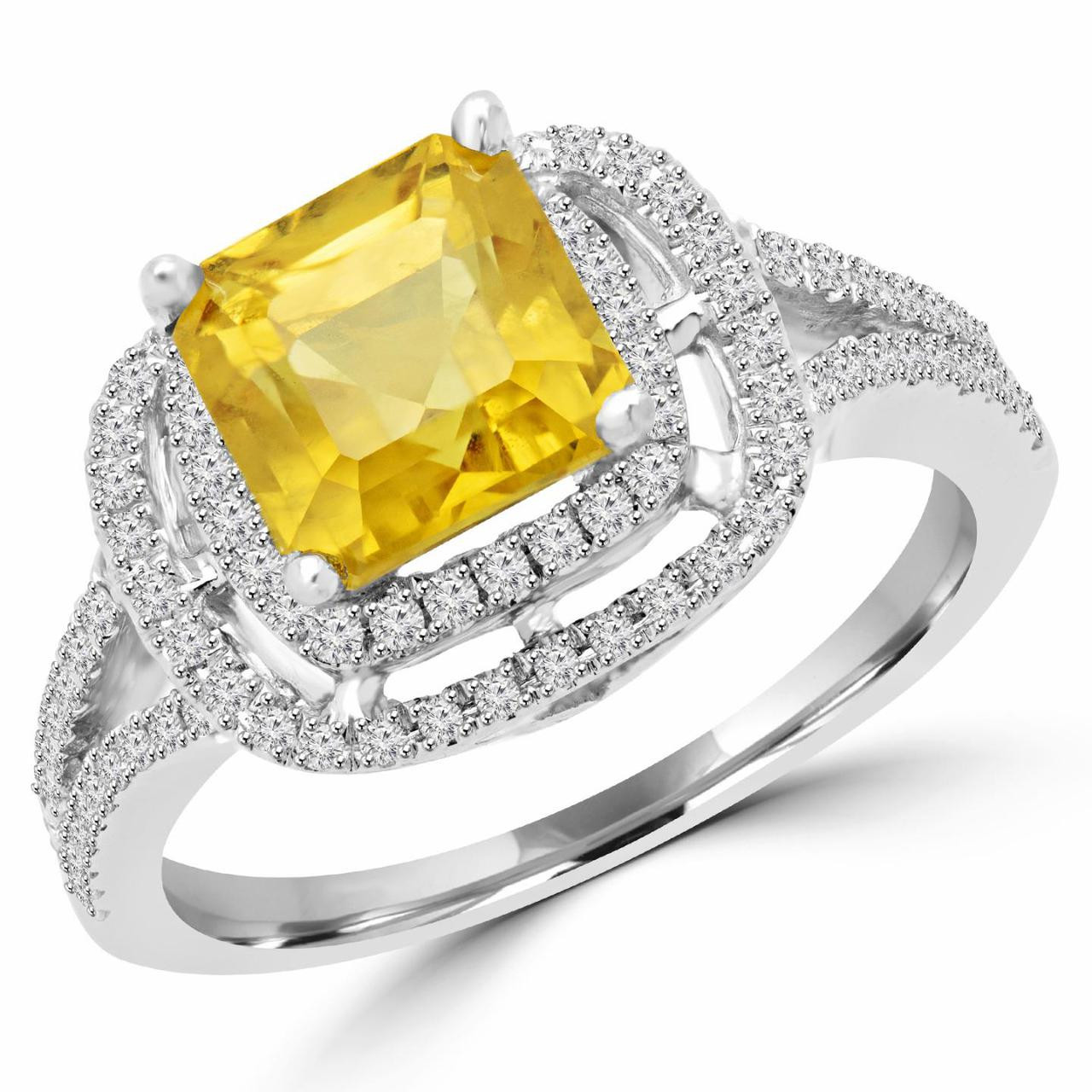 a93dc27c3948f Emerald Cut Yellow Sapphire Multi-Stone Halo Fashion Cocktail Ring ...