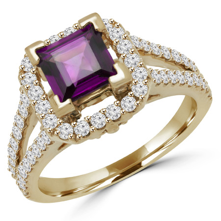 Emerald Cut Pink Tourmaline Diamond Halo Cocktail Ring in Yellow Gold - #HR6200-Y-PR-TOUR-2