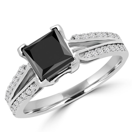 Princess Cut Black Diamond V-Prong Split Shank Engagement Ring with White Round Diamond Accetns in White Gold - #LR1338-W-BLK-PR