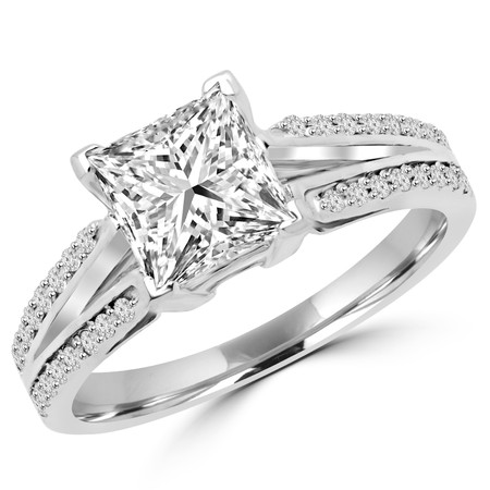 Princess Cut Diamond V-Prong Split Shank Engagement Ring with Round Accents in White Gold - #LR1338-W-PR