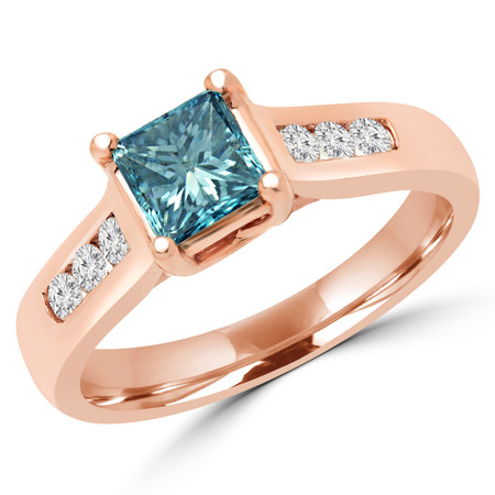 Princess Cut Blue Diamond Multi-Stone 4-Prong Fashion Engagement Ring with White Diamond Accents in Rose Gold - #SM1416-R-PR-BLUE