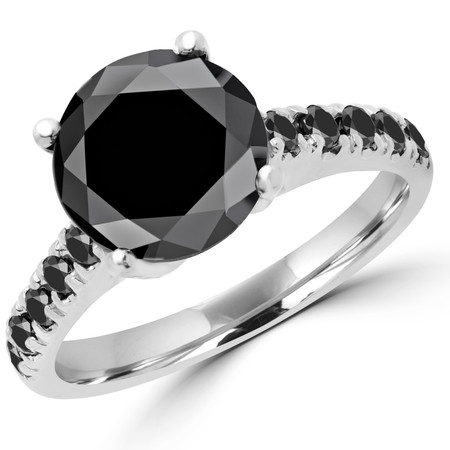 Round Cut Black Diamond Multi-Stone 4-Prong Fashion Engagement Ring with Black Diamond Accents in White Gold - #SM1991-BLK-BLK-W