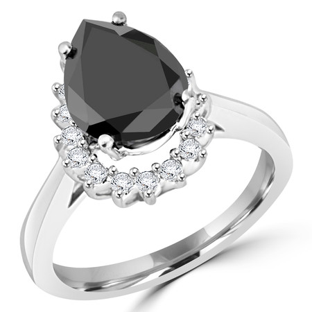 Pear Cut Black Diamond Multi-Stone 4-Prong Halo Engagement Ring with Round White Diamond Accents in White Gold - #CSFR3F7172-W-BLK