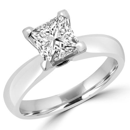 Princess Cut Diamond Solitaire 4-Prong Engagement Ring in White Gold - #1625LP-W