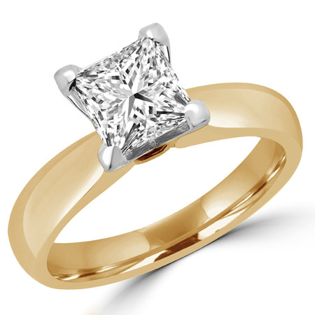 Princess Cut Diamond Solitaire 4-Prong Engagement Ring in Yellow Gold - #1625LP-Y