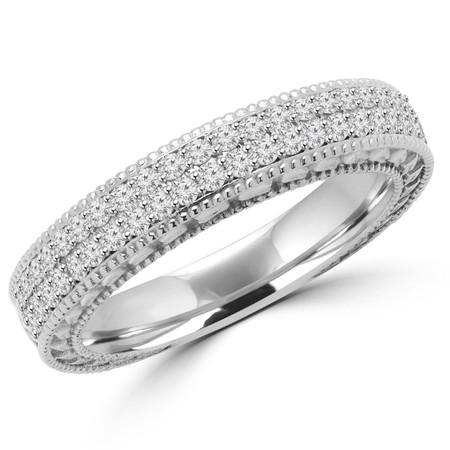 Round Cut Diamond Multi-Stone Fashion Wedding Band Ring in White Gold - #MD-R-CHARLES-W