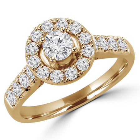 Round Cut Diamond Multi-Stone Antique Vintage Halo 4-Prong Engagement Ring in Yellow Gold - #SKR15451-125E-Y