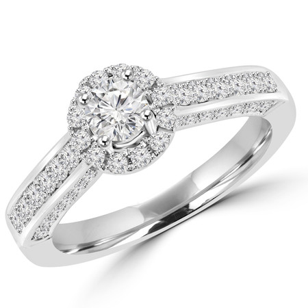 Round Cut Diamond Multi-Stone Halo Antique Vintage 4-Prong Engagement Ring in White Gold - #SKR15497-100-W