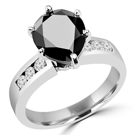 Pear Cut Black Diamond Multi-Stone 6-Prong Engagement Ring with Round White Diamond Channel-Set Accents in White Gold - #SM513-W-PE-BLK