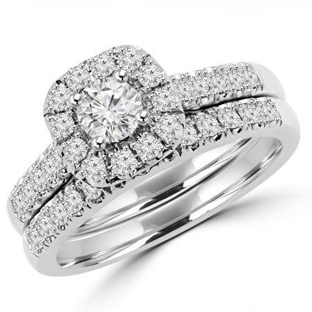 Round Cut Diamond Multi-Stone Halo 4-Prong Engagement Ring and Wedding Band Bridal Set in White Gold - #SKR15450-100-W