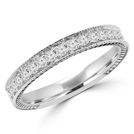 Round Cut Diamond Multi-Stone Fashion Semi-Eternity Wedding Band Ring in White Gold - #HR6207-BAND-W