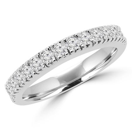Round Cut Diamond Multi-Stone Arched Semi-Eternity Wedding Band Ring in White Gold - #2457WS-B-W