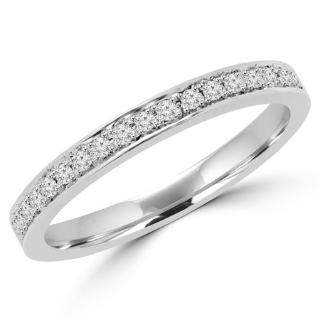 Round Cut Diamond Multi-Stone Classic Semi-Eternity Wedding Band Ring in White Gold - #MLK-2566WS-B-W